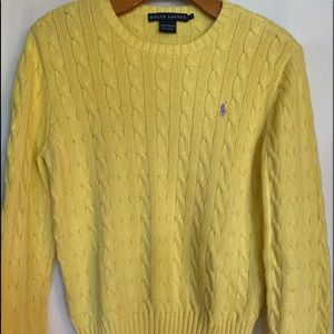 Ralph Lauren Yellow Cable Knit Sweater Large